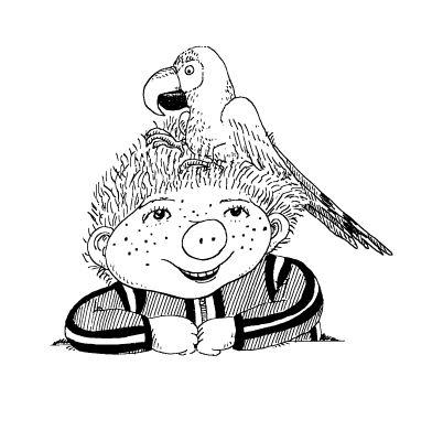 """Illustration: """"Sams und Papagei"""", © Paul Maar/Verlagsgruppe Oetinger"""