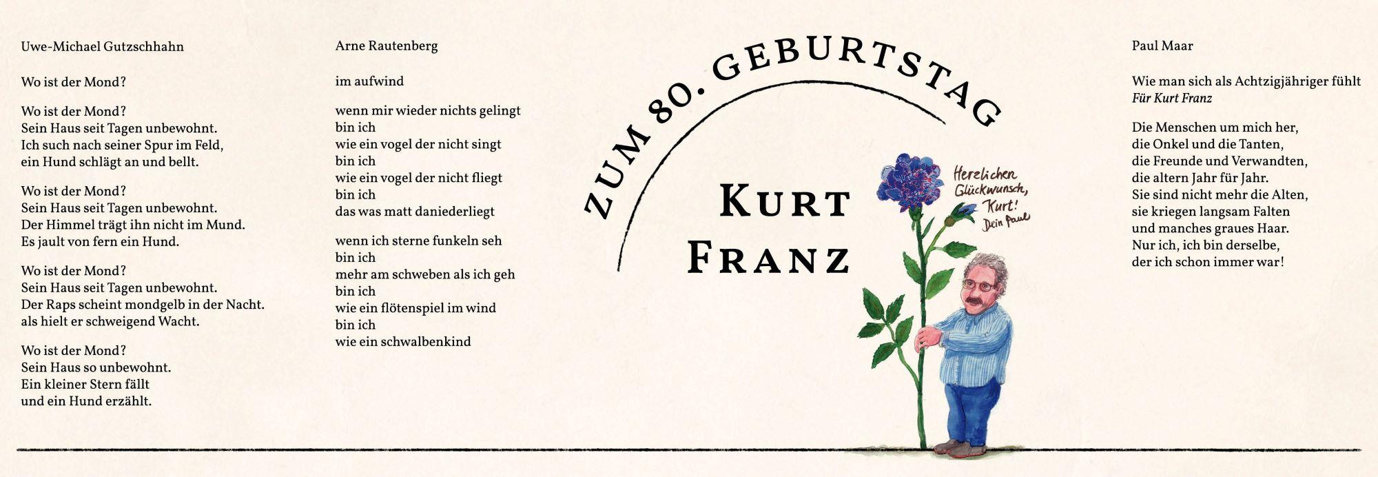 Geburstagsblatt: Kurt Franz zum 80. Geburtstag