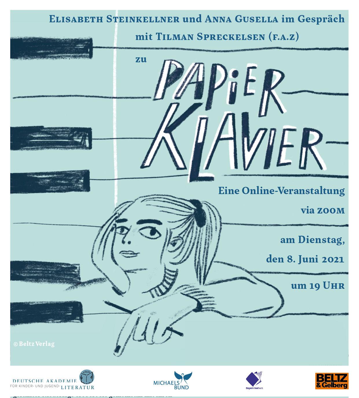 """Online-Veranstaltung """"Papierklavier"""" mit Elisabeth Steinkellner, und Anna Gusella mit Tilman Spreckelsen (08.06.2021)"""